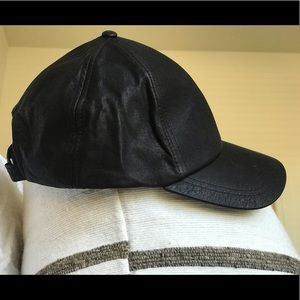 GUESS Black Leather Adjustable Cap